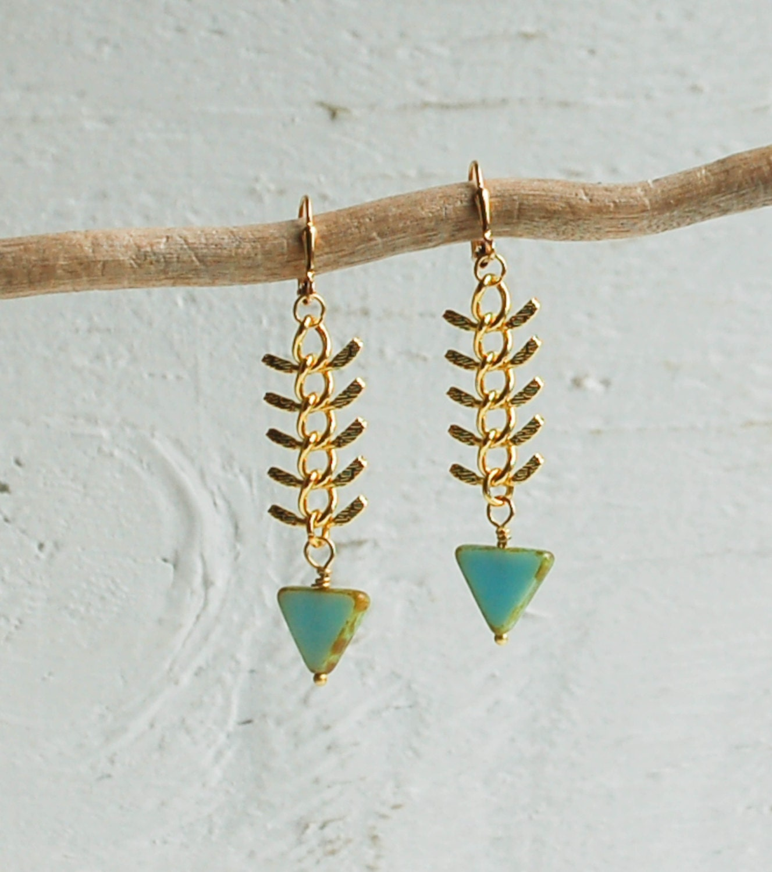 Gold fish bone chain earrings blue czech glass by for Fish bone earrings