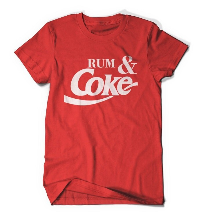 Rum and Coke Red t-shirt  size S,M,L,XL fitted tshirt Vintage Design - ShirtoftheDay