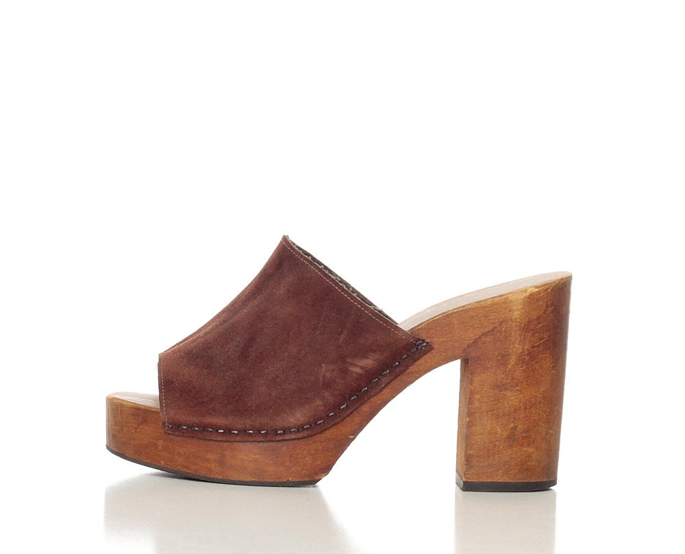 70s wooden heels platform shoes 70s leather mules by shopexile