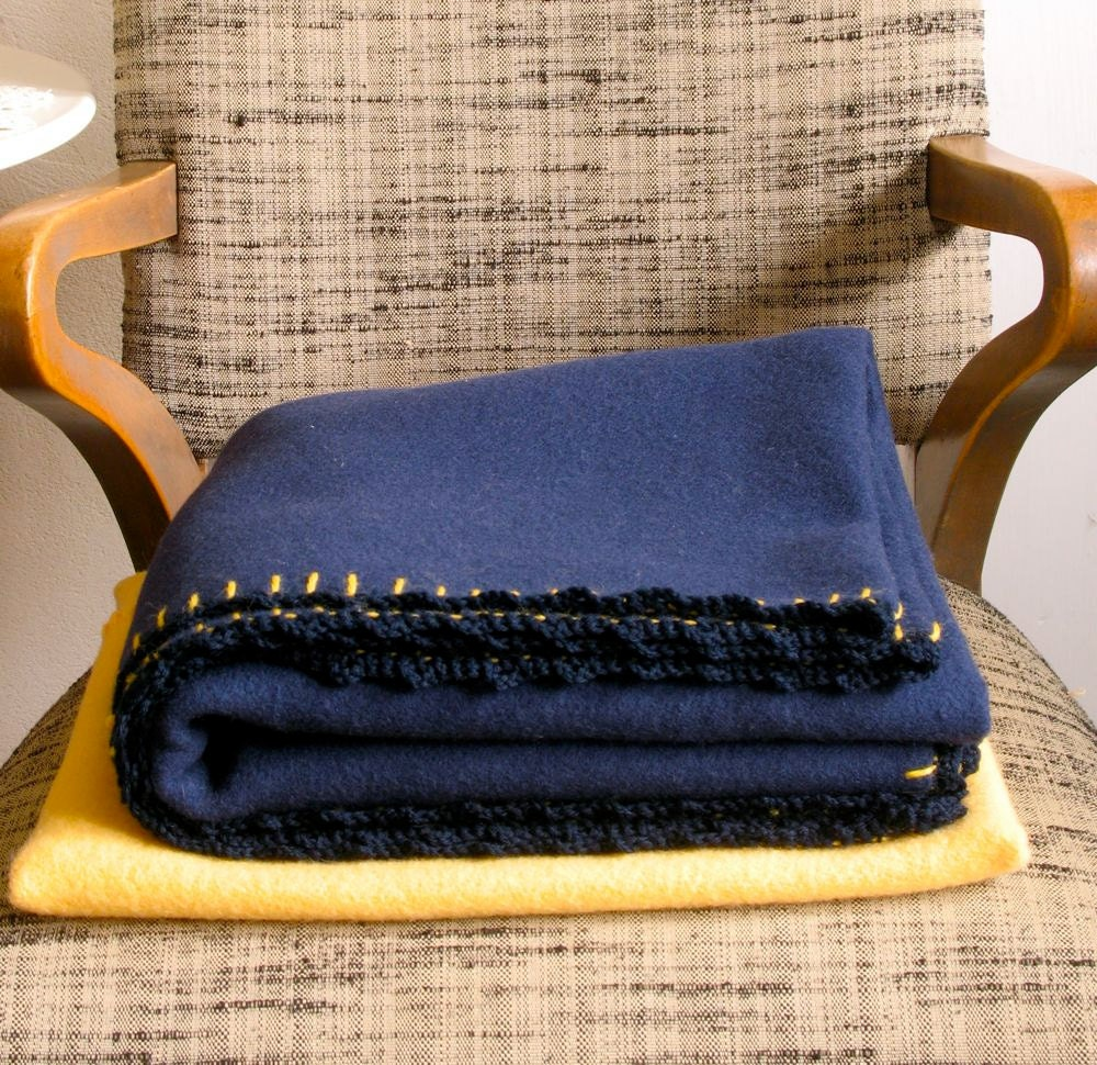 Merino Wool Blanket w/ Applique Cloud Case Navy Travel Throw Yellow Case - ohthisnose