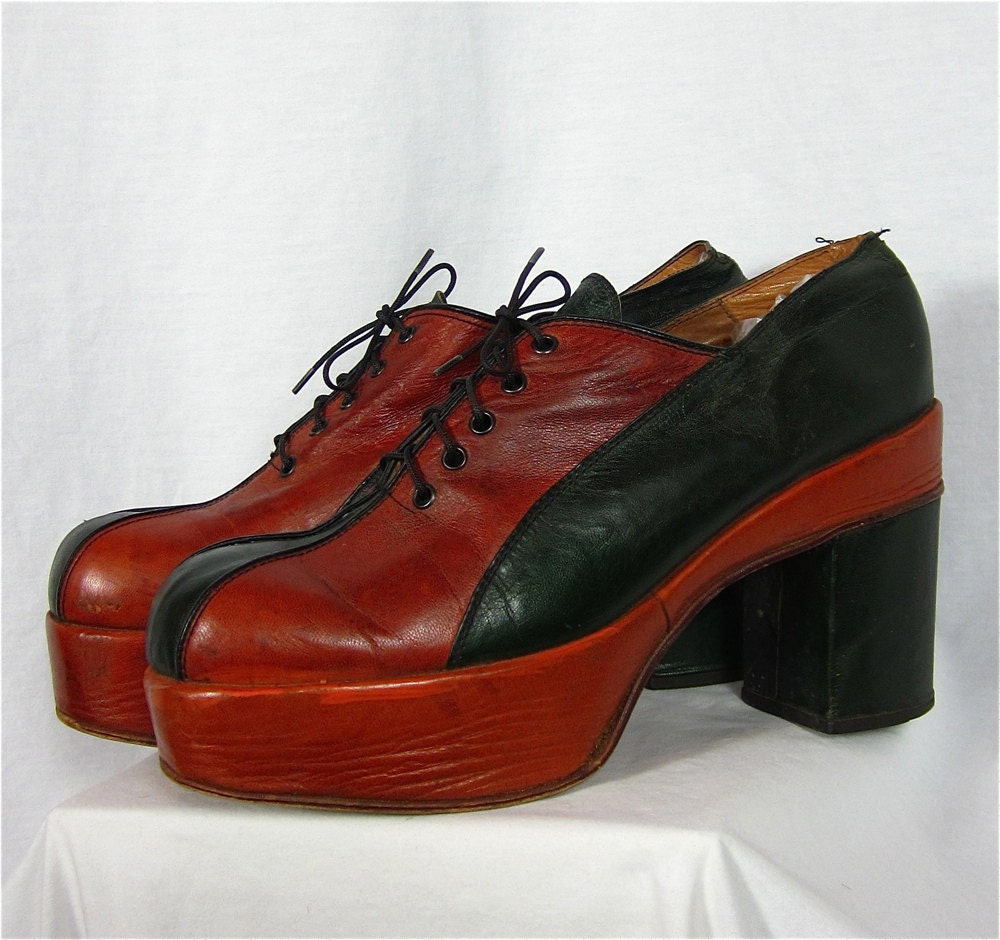 vintage 70s mens two tone leather platform shoes by