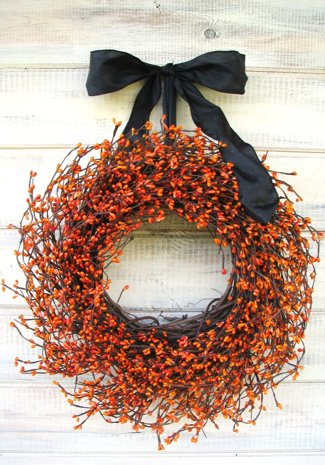 HAUNTED HALLOWEEN-Orange & Black Wreath-Halloween Decor-Fall Wreath-Scented Pumpkin Spice-Choose your Scent and Ribbon - WildRidgeDesign