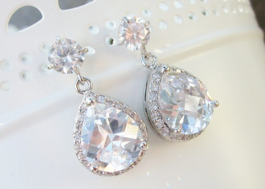 Rhinestone bridal earrings, classic tear drop, small wedding earrings, pear shape drops, vintage old hollywood - Ava