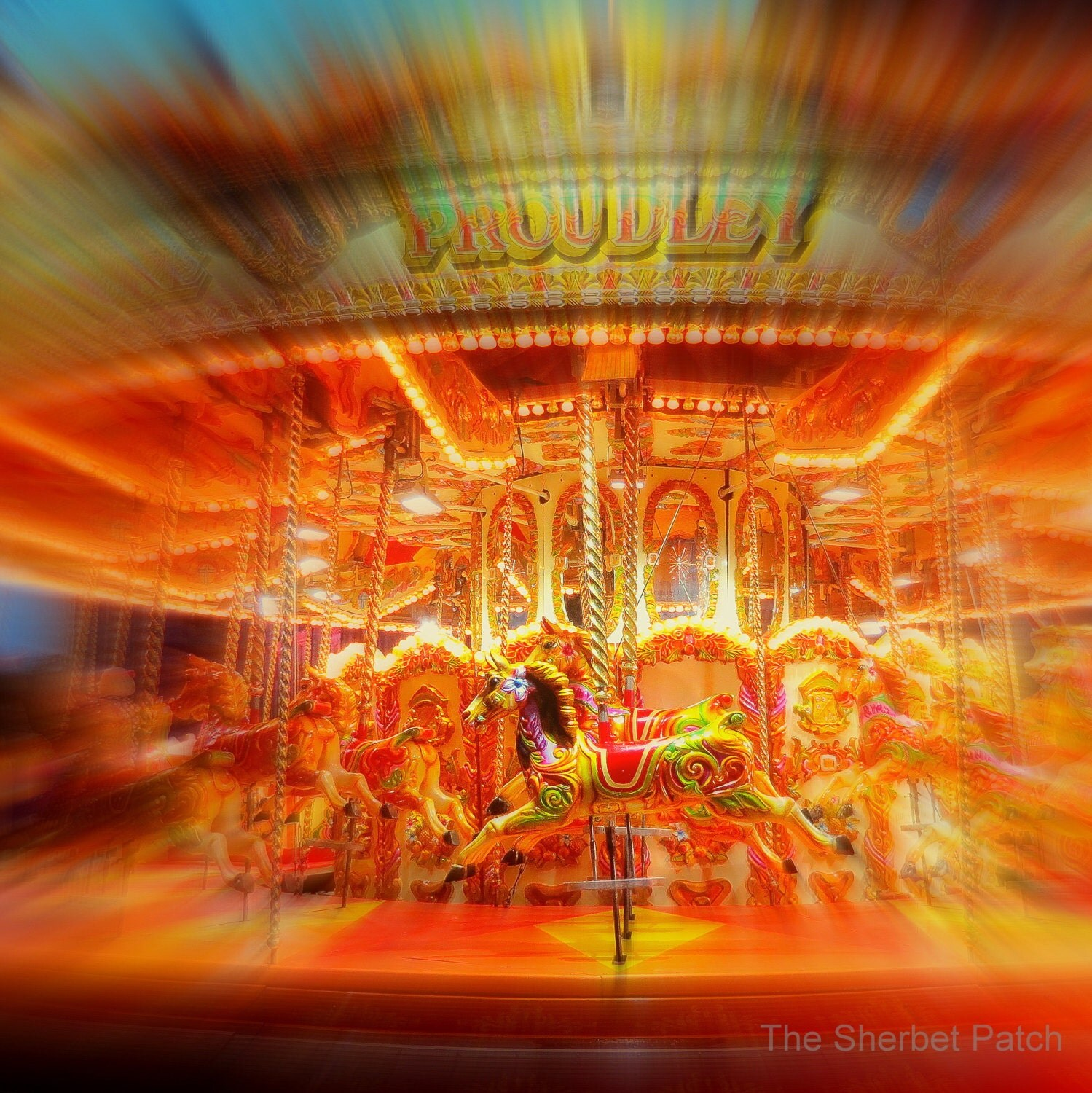 Carousel.  A 20.5cm x 20.5cm photogrphic print. ( 8 inches x 8 inches) - TheSherbetPatch