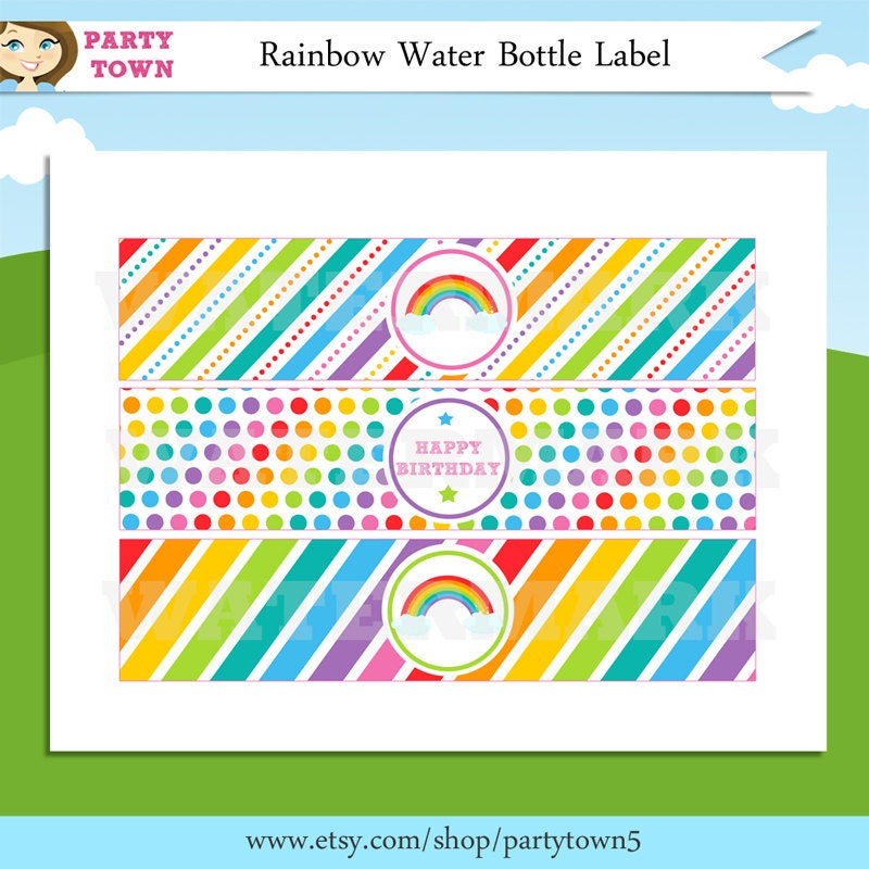 Free Printable Rainbow Label Templates - Birthday water bottle labels template free