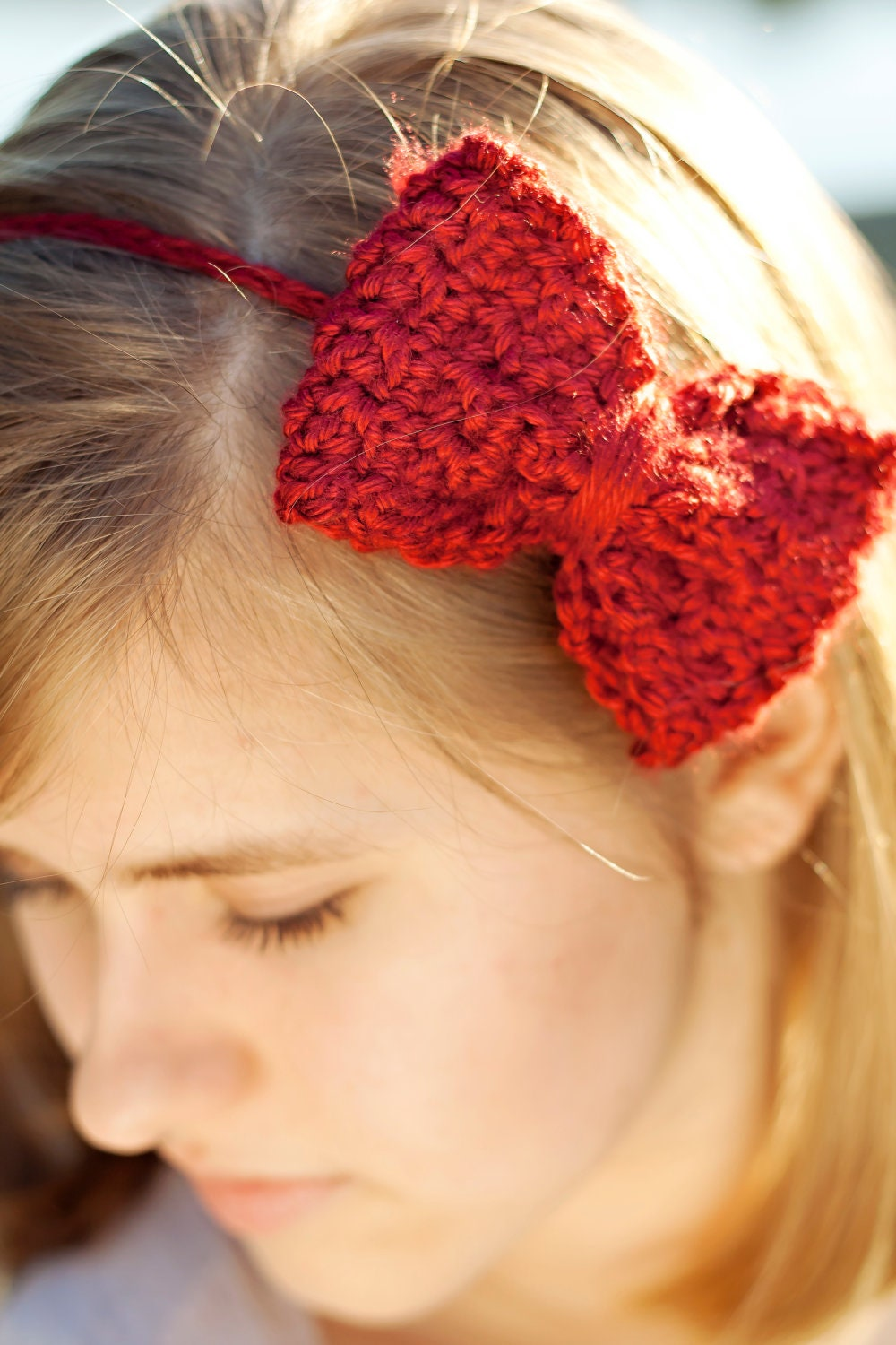 Crochet Bow Headband in crimson