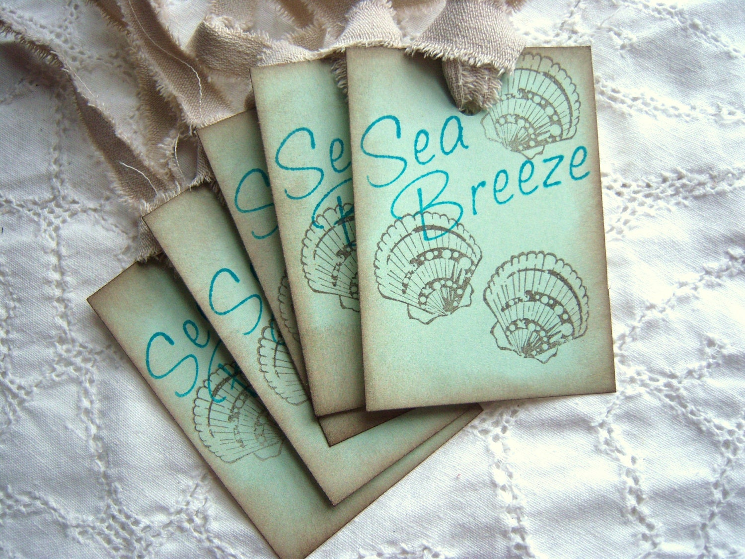 Sea Breeze and Sea Shells - Vintage Inspired Shabby Chic Hang Tags