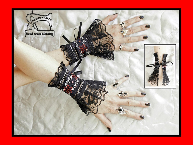 gothic cyber goth gloves arm warmers fingerless cuff harajuku queen of darkness lolita victorian steampunk corset style 0830
