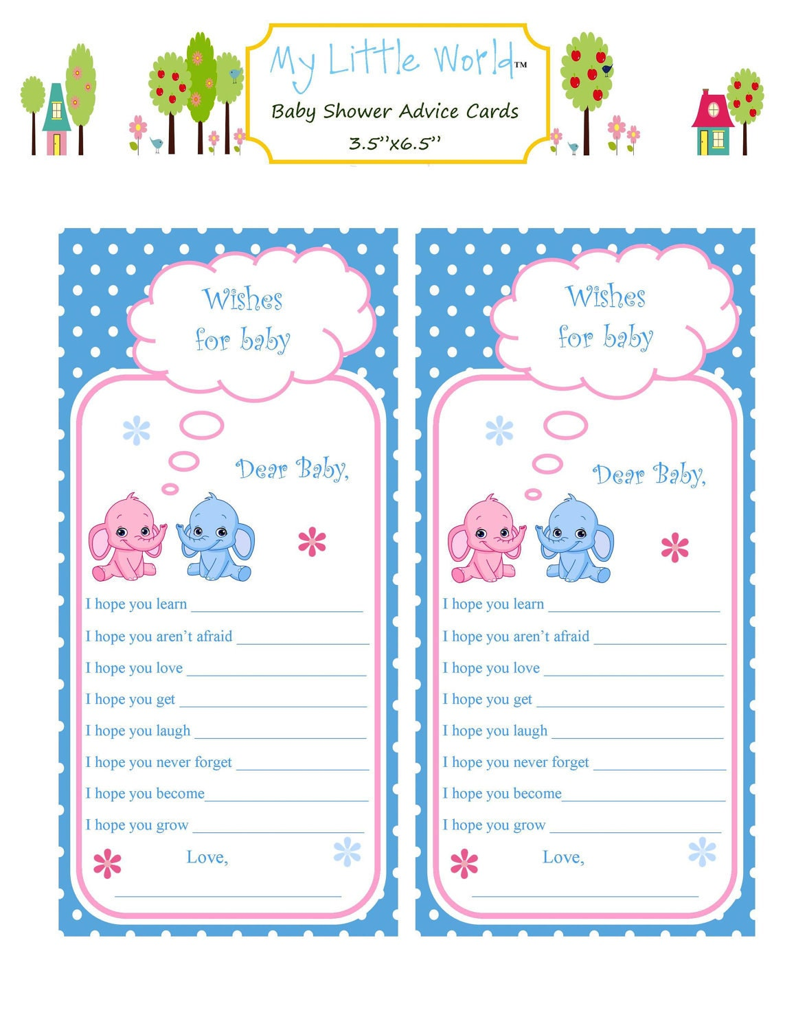 baby advice cards baby shower advice cards by treschicpartydesigns