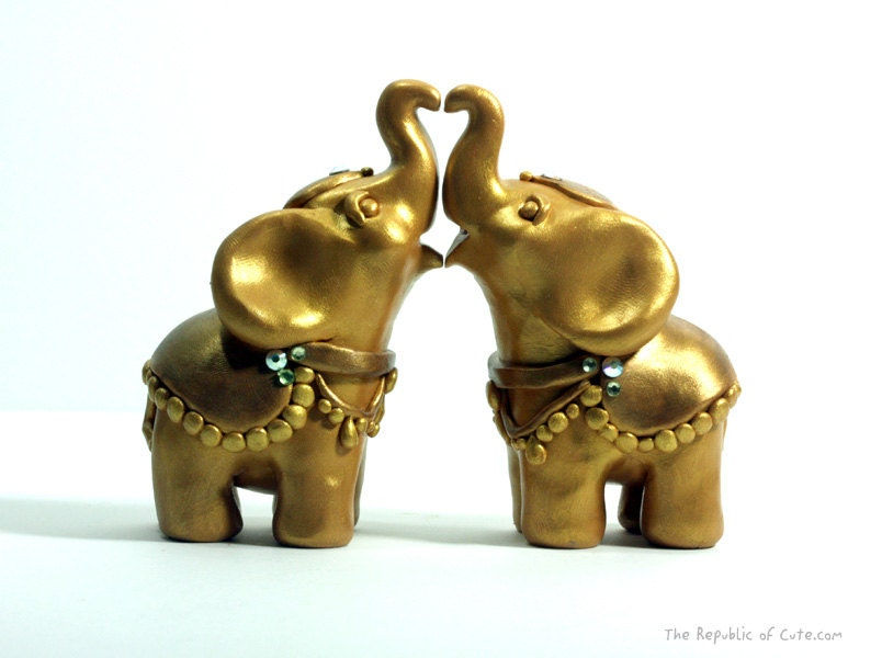 Gold Elephant Wedding Cake Toppers Decorated By RepublicOfCute
