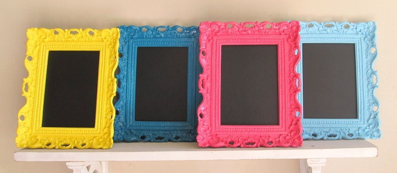 Bright FRAMED CHALKBOARD Neon Colors Teal Pink Aqua Yellow Frame Wedding Table Numbers Candy Bar Sign Birthday Party Decoration -ANY Color