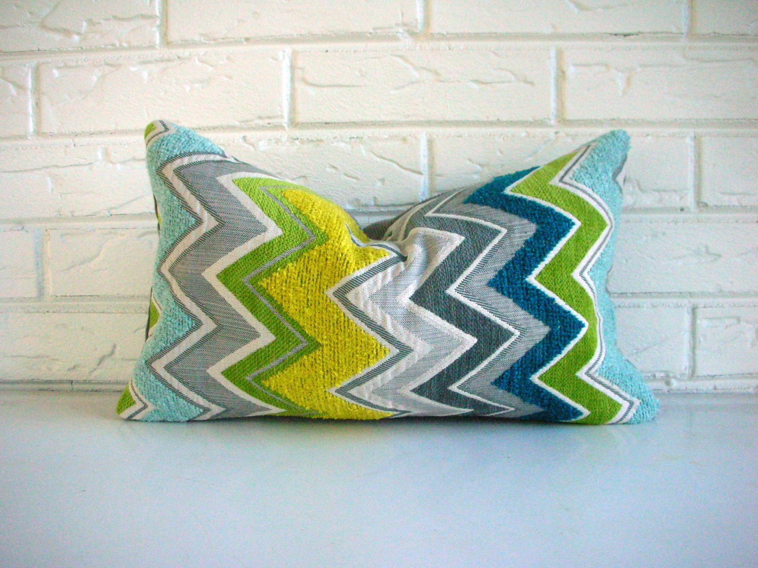 Pillow Cover Schumacher Zenyatta Mondatta Decorative Throw Designer Lumbar Peacock Chevron Zig Zag Missoni 10 x 16
