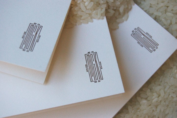 Letterpress - Vintage Monogram - Custom Notecards