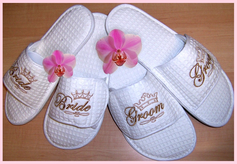 Expensive Wedding Gifts For Bride And Groom : Bride and Groom Spa Slippers by simplysonia on Etsy