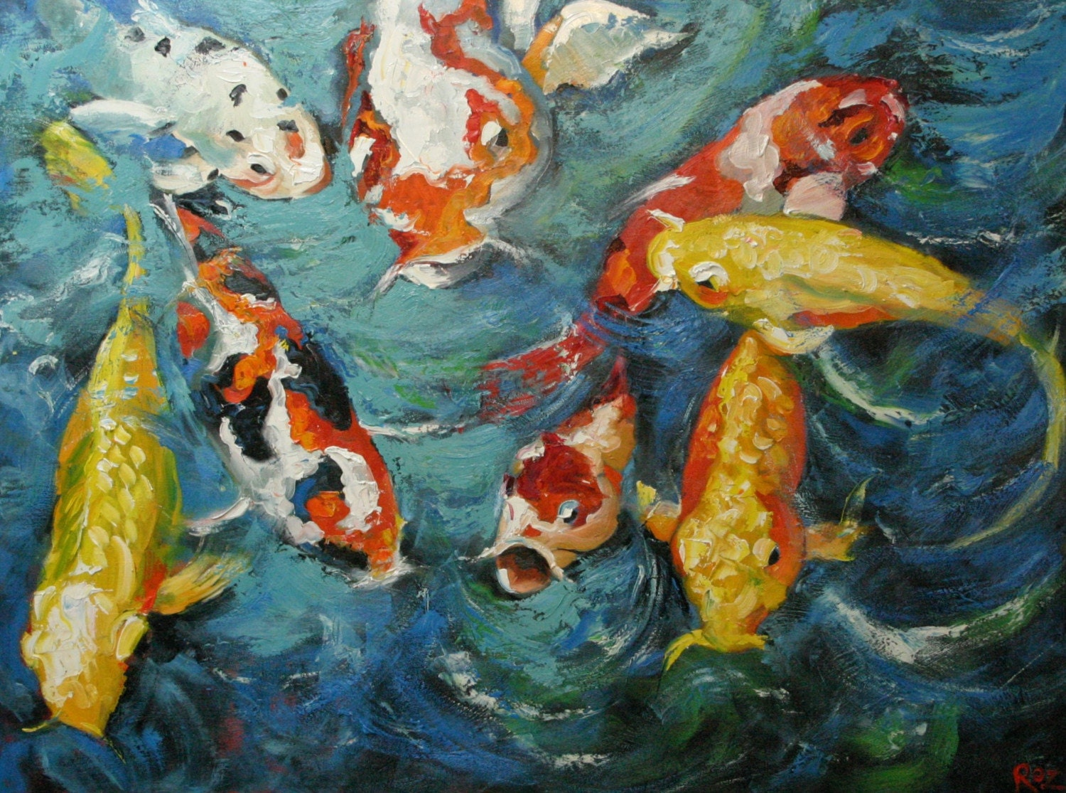 Koi 29 30x40 inch original oil painting by Roz by RozArt on Etsy
