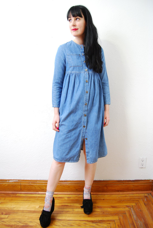 Vintage 1980s cute denim dress shirt empire waist for Empire waist t shirt dress