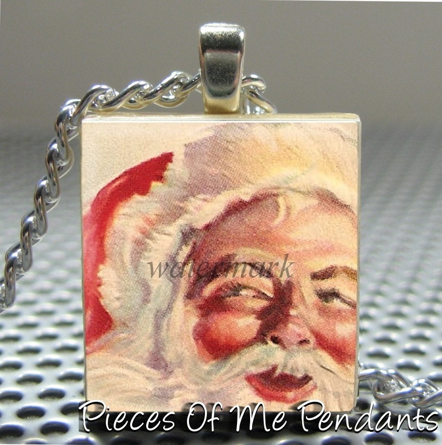 Pieces Of Me Pendants ...... Scrabble Tile Pendant ......  VINTAGE SANTA 1