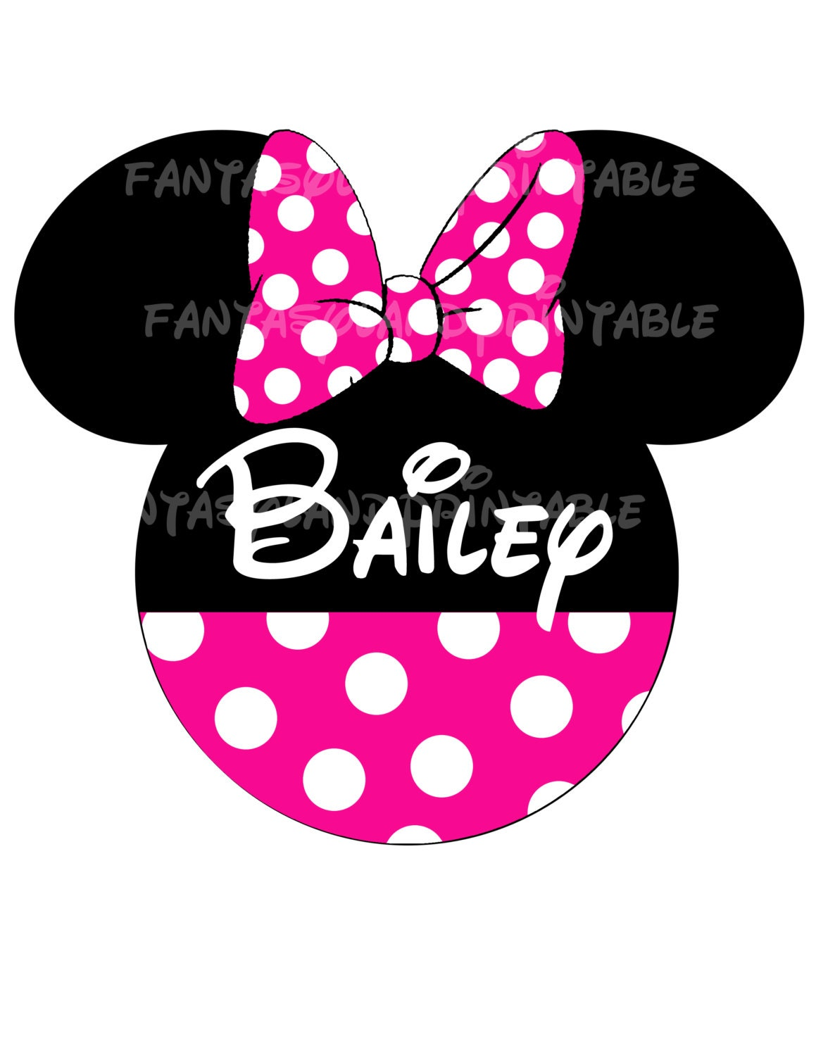 Minnie mouse classic pink bow for diy by fantasylandprintable for Diy disney shirt template