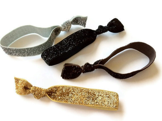 Glamour Collection Glitter Hair Ties Set of 4