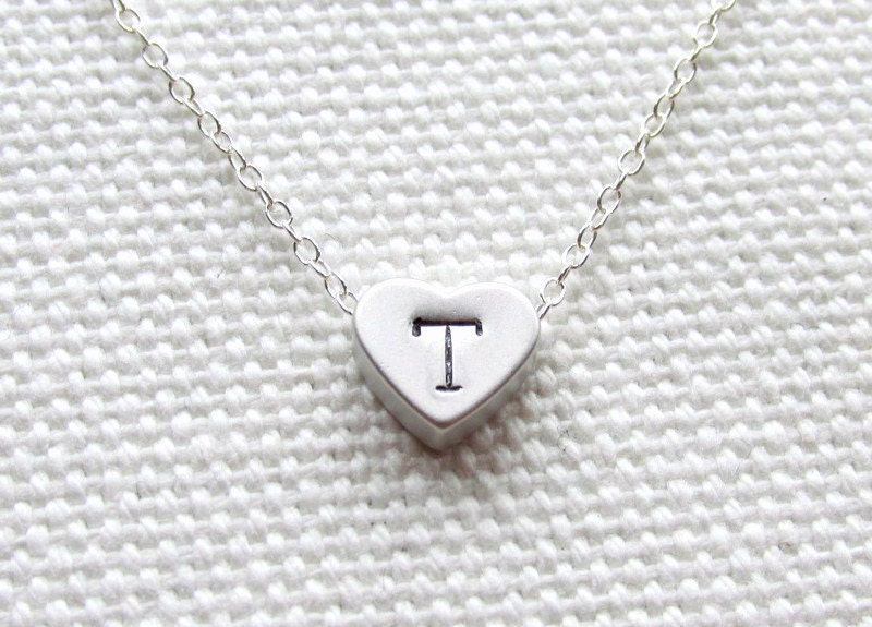 Heart Initial Necklace Custom Personalized Jewelry Tiny Heart Sterling Silver Chain Dainty Minimalist Jewelry