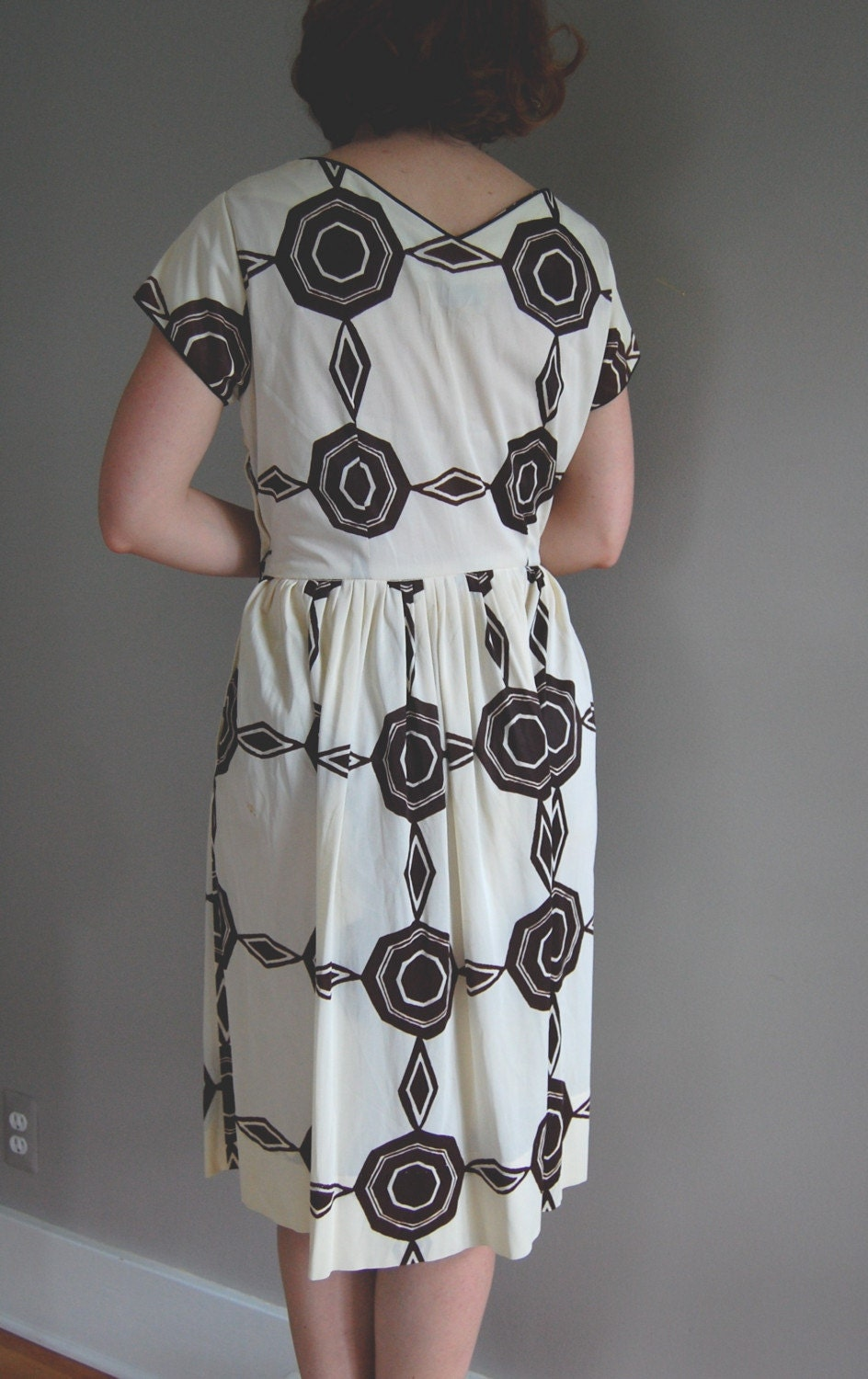 vintage 60s GEOMETRIC Print Day Dress by DearGoldenVintage