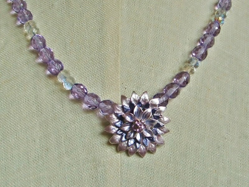 Lavendar Crystal Flower Pendant Necklace by anothertimeantiques