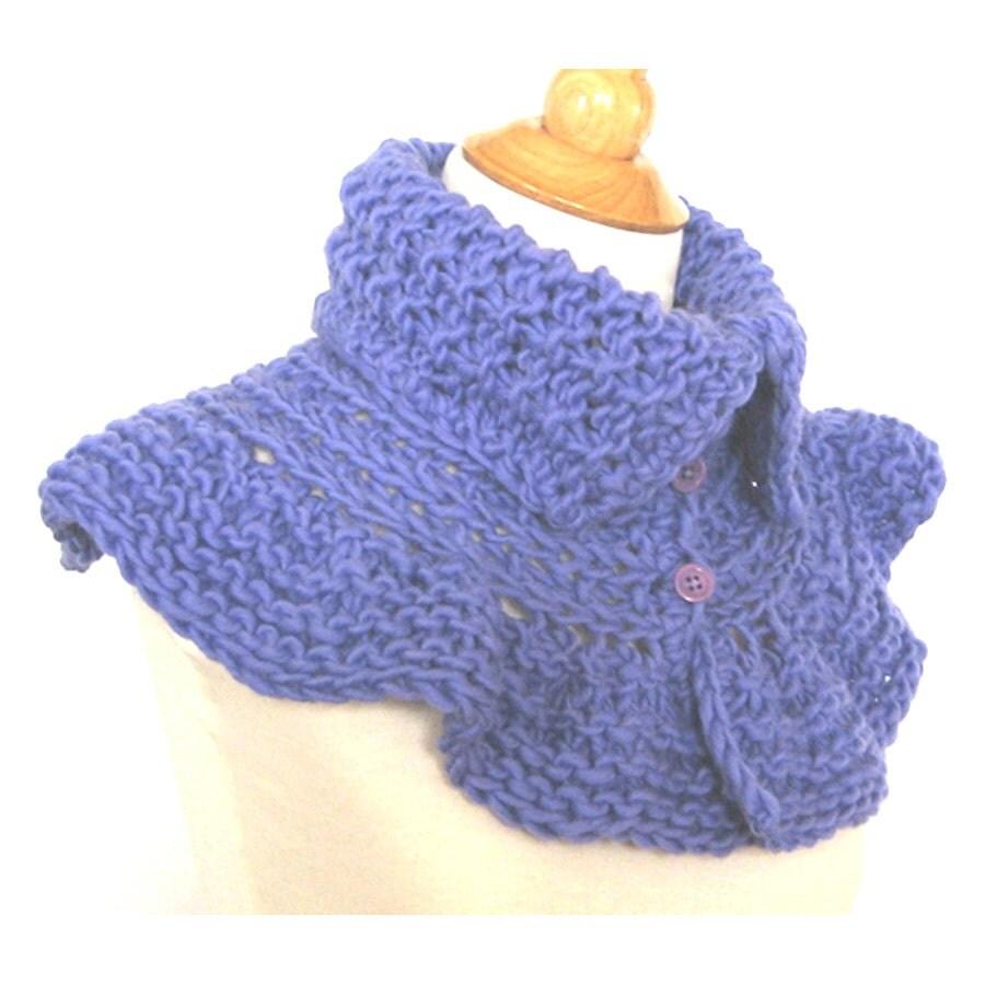 Lavender Knit Capelet - Ruffled Alpaca Wrap