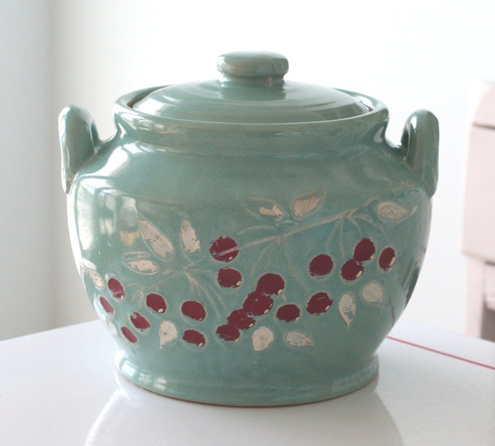 Turquoise Cherry Crock Cookie Jar - jaditekate