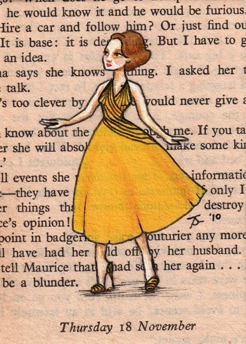 Limited Edition ACEO Print 4 of 20 - Paris, 1955 - Martine Steps Out In Yellow - Rue du Sommerande, St Germaine
