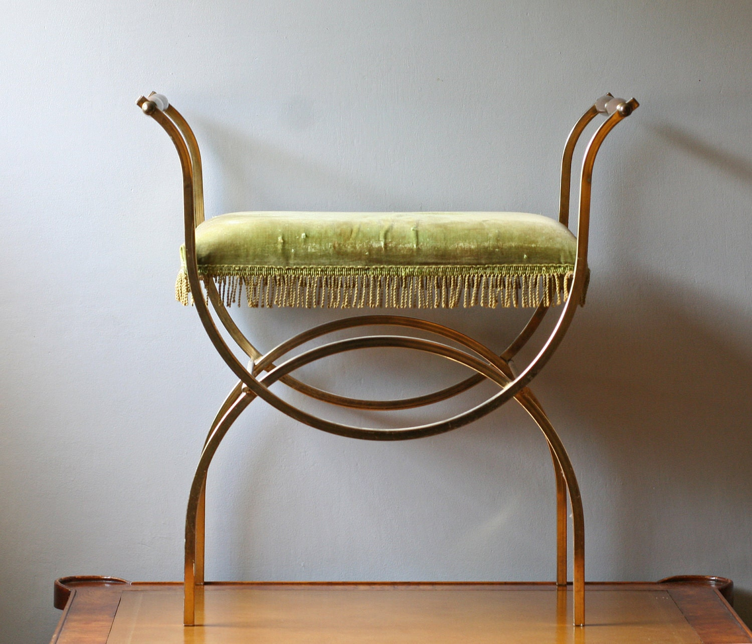 Brass Vanity Chair With Lime Green Velvet Seat By