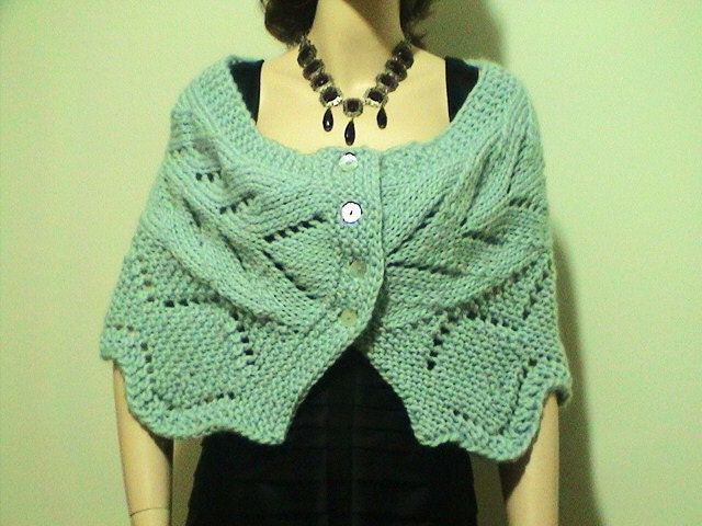 Items similar to Hand Knit Shoulder Wrap Bolero Shawl Lace Pattern Great for ...