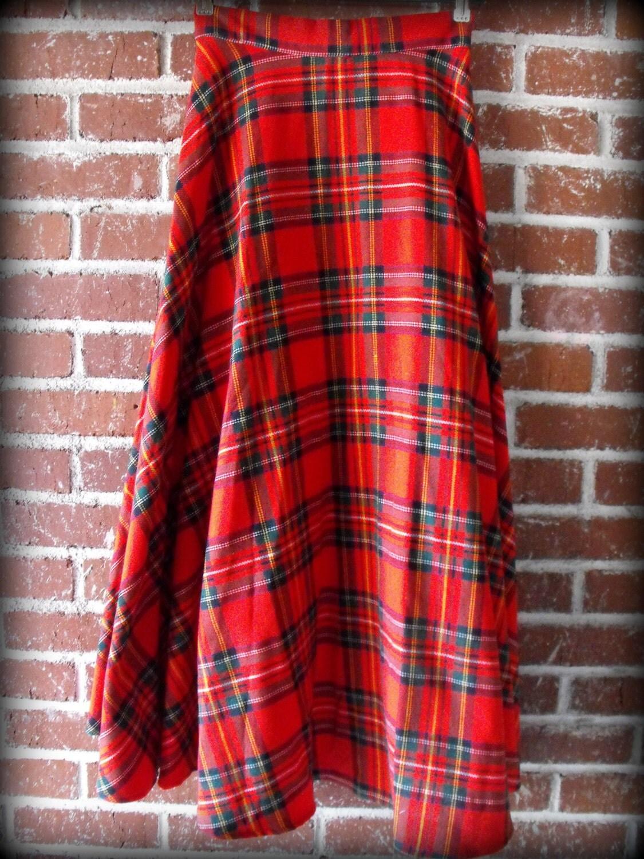 vintage plaid tartan maxi skirt small 26 waist by
