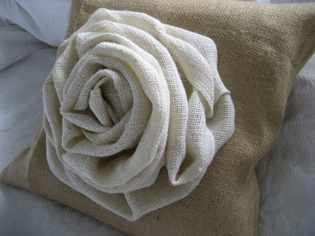 Shabby Chic Big Cabbage Rose Burlap Pillow