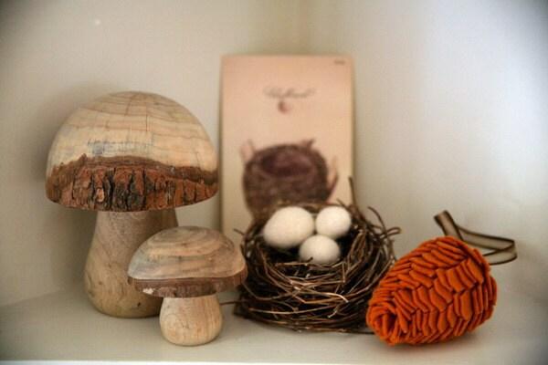 Wool Felt Pinecone Decoration - orange