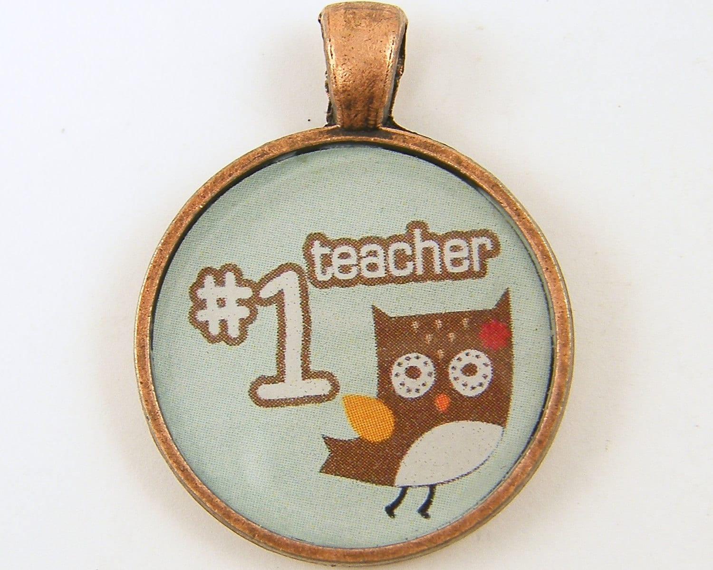 Teacher Gift - Number One Teacher Owl Brown White Blue Round Resin Copper Pendant
