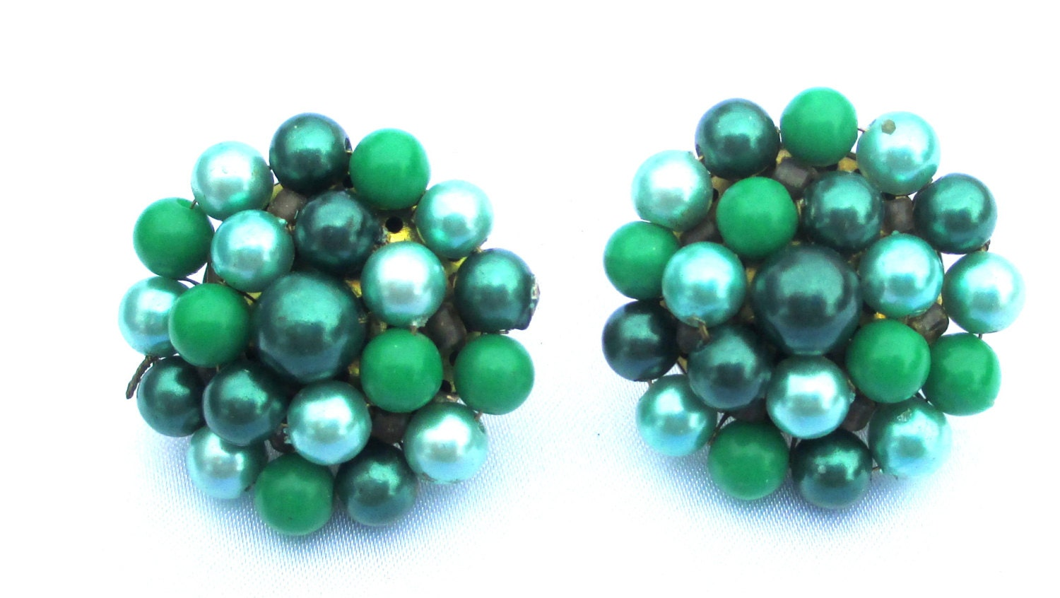 Vintage Green and Teal Beaded Cluster Earrings, Clip on Pierced Conversion Available - MickisVintageJewelry