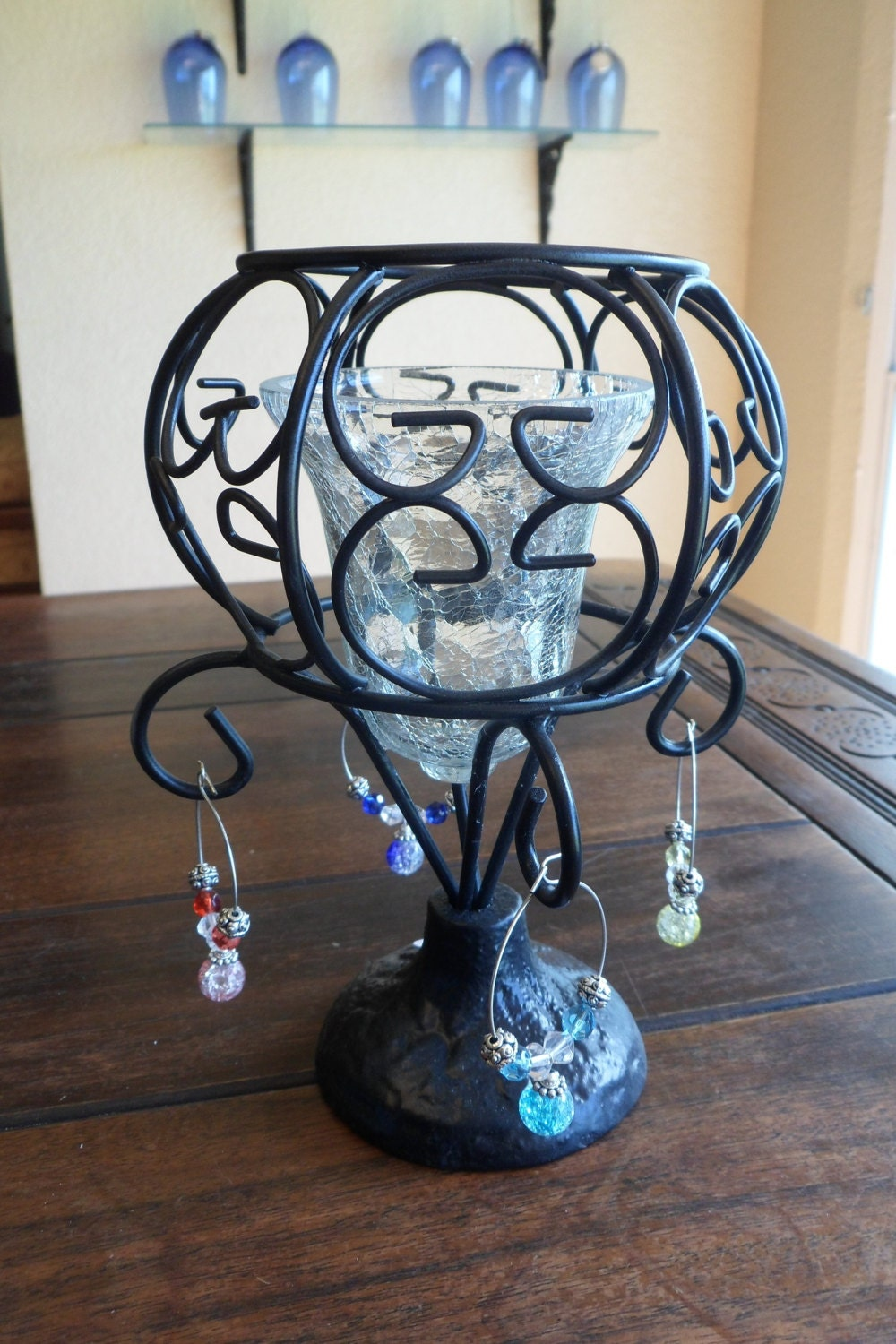 unique wine charm candle holder and set of 4 wine by