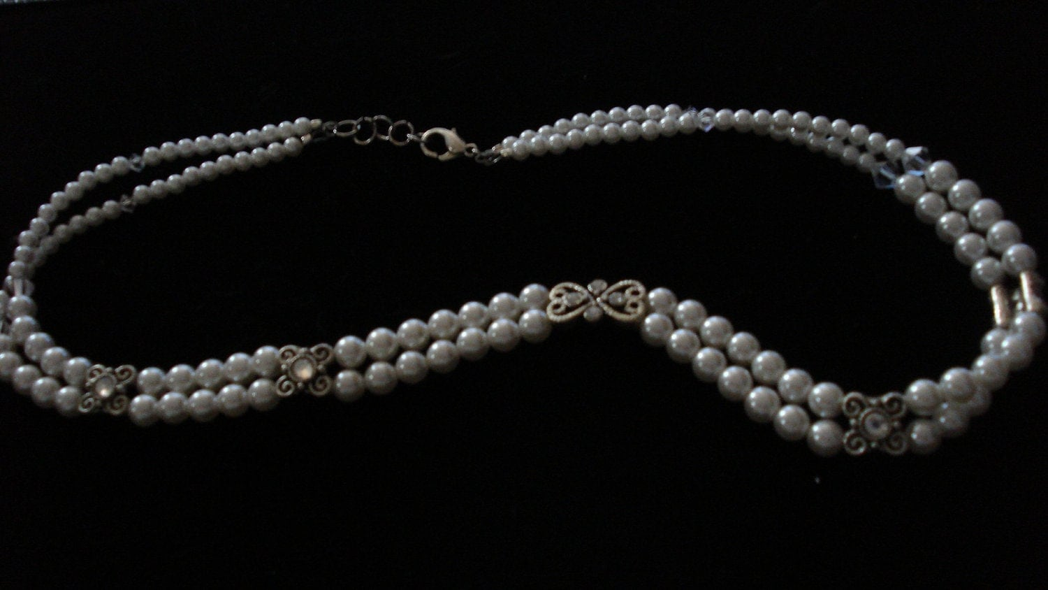 Bridal Swarovski Pearl and Crystal Double Strand Necklace
