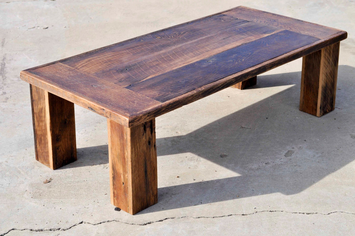 Reclaimed oak barn wood coffee table the herc by dohlerdesigns Recycled wood coffee table