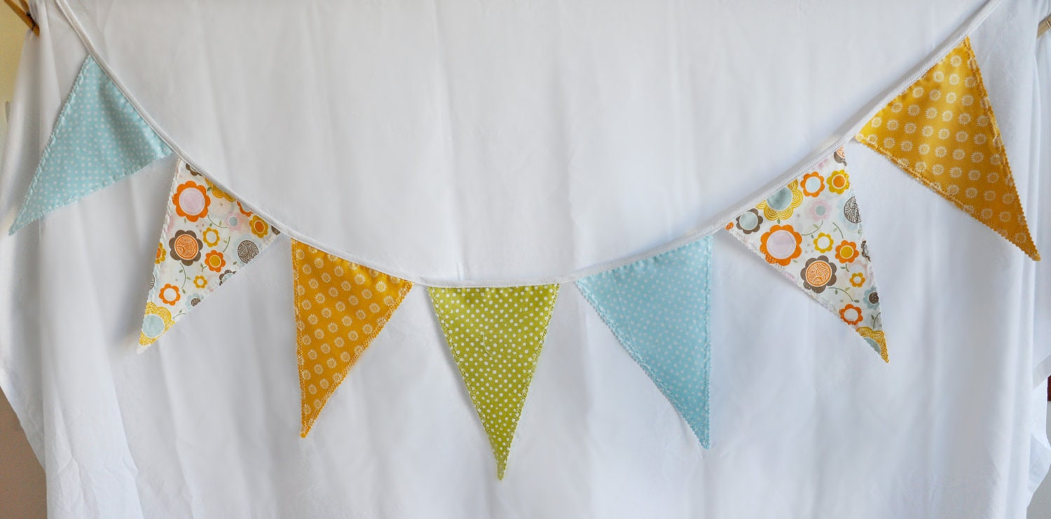 Whimsical Fabric Banner in Orange, Blue, Green and Colorful Floral Print