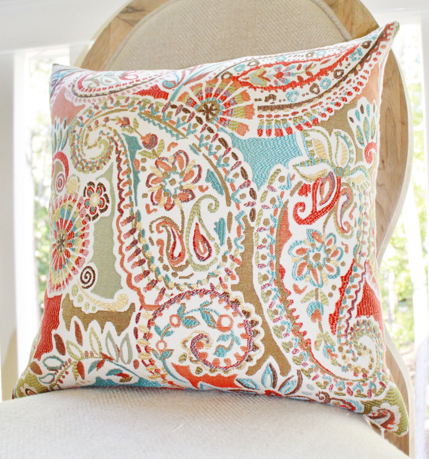 Moroccan Turquoise Orange Coral Pillow Red Aqua by
