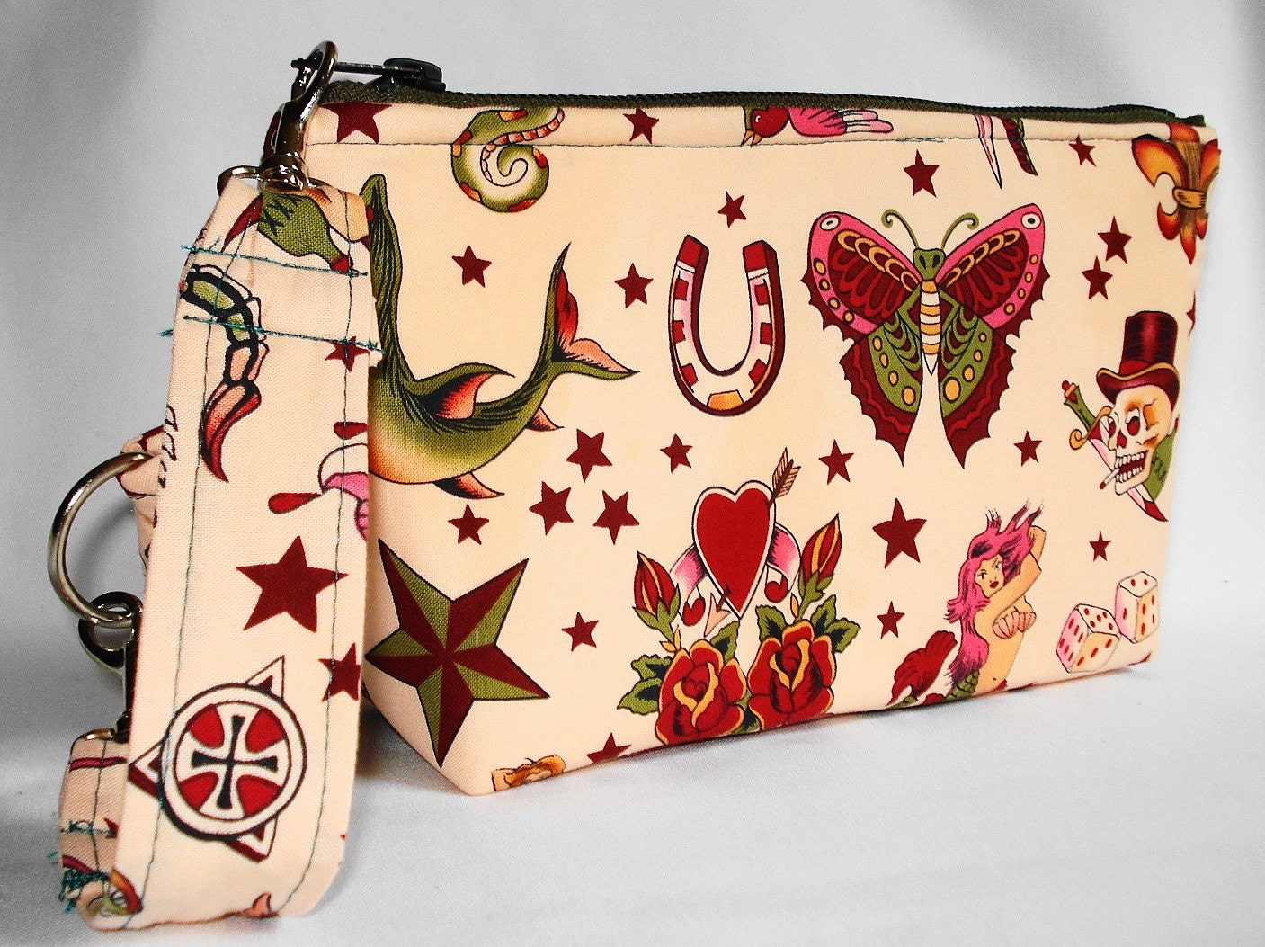 Tattoo Flash Convertible Wristlet --- Retro Old School --- Blush Pink --- VLV,  Rockabilly by WolfBait on Etsy from etsy.com