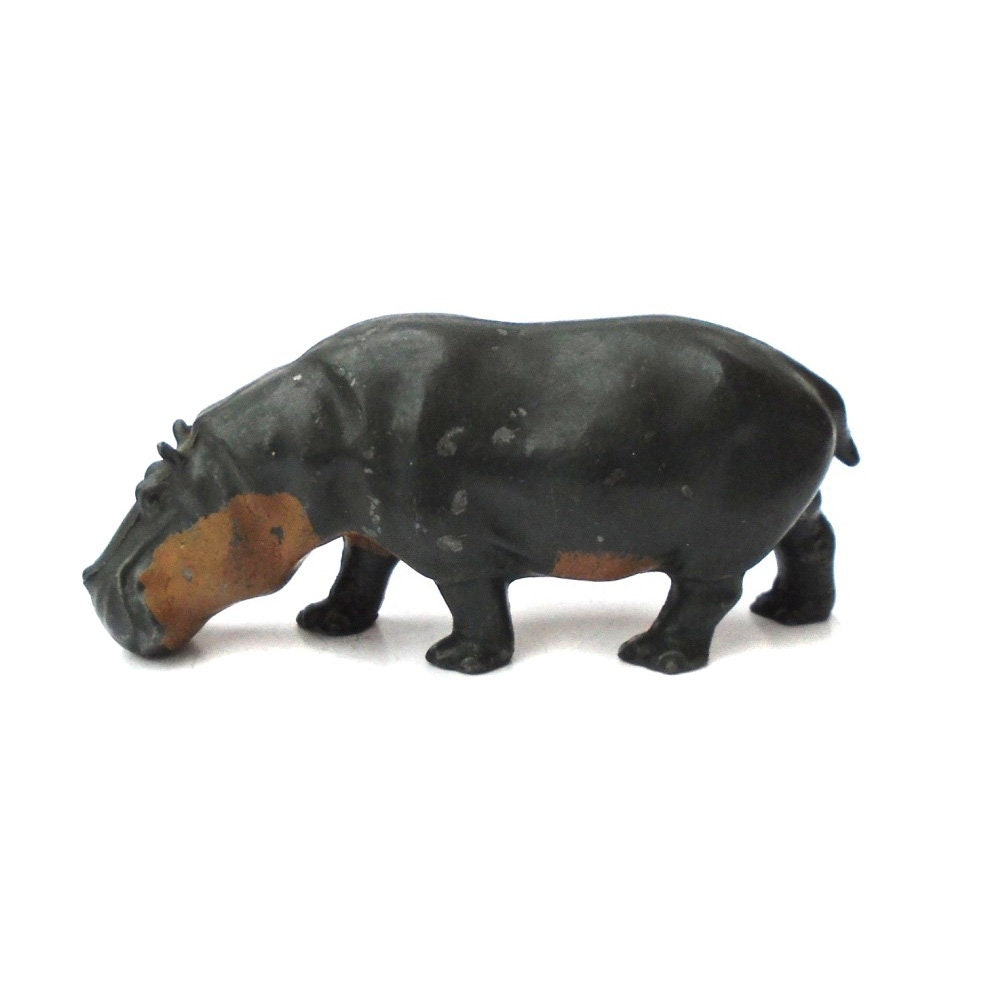 Rare Antique 1930s Lead Toy Hippo Hippopotamus Large Britains Zoo Animal Wild Miniature England Vintage Safari Jungle River Cow Horse Art