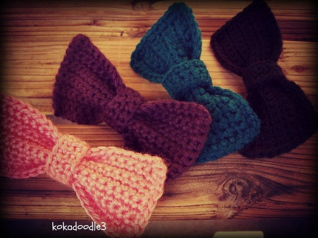 Crochet Hair Ribbons : Crochet Hair Bows kokadoodle3