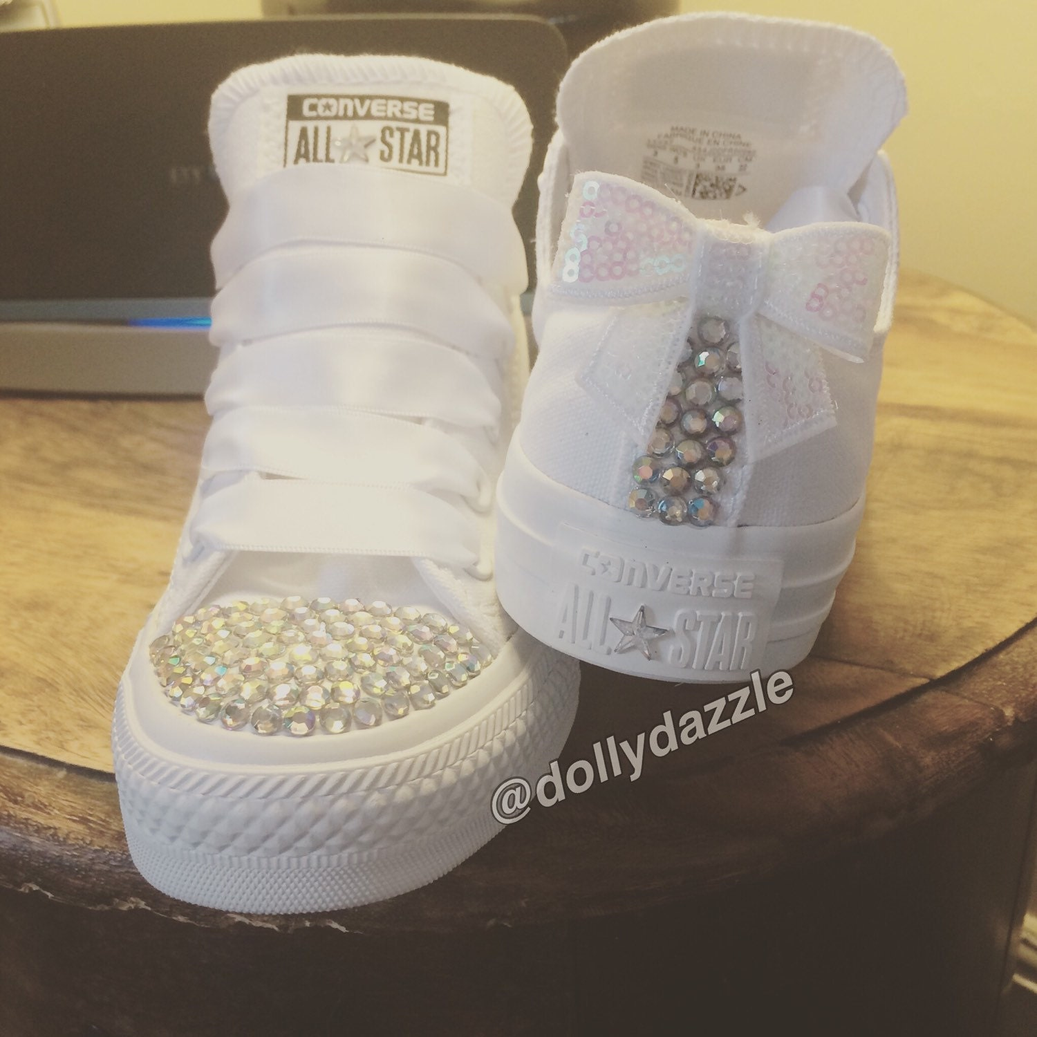 Bridal Prom Customised Converse Trainers All Stars Bling Shoes Womens Unique size 3 4 5 6 7 8