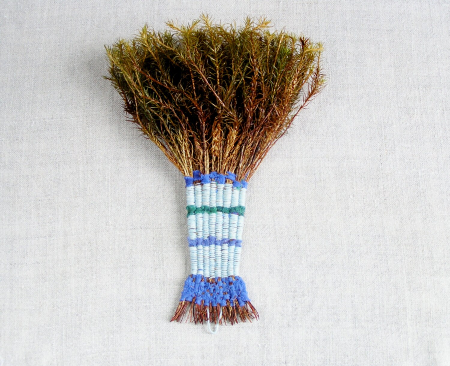 rustic wall decor - whisk broom  - nature eco decor striped in blue green - Birribe