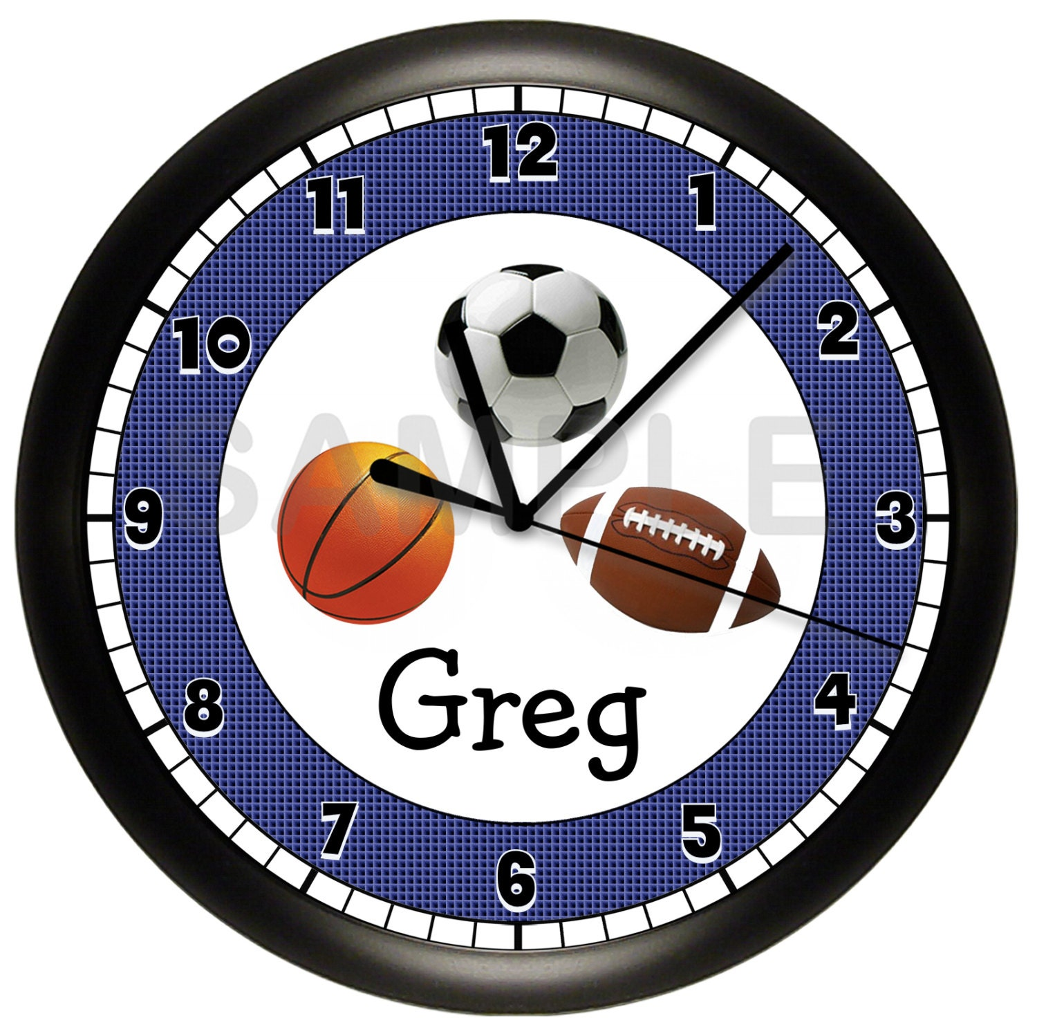 Football Design Wall Clock : Personalized sports wall clock football basketball by