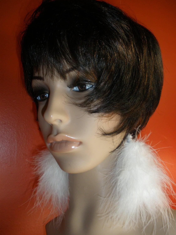 Soft Precious White Fuzzy Furry Feathers Earrings