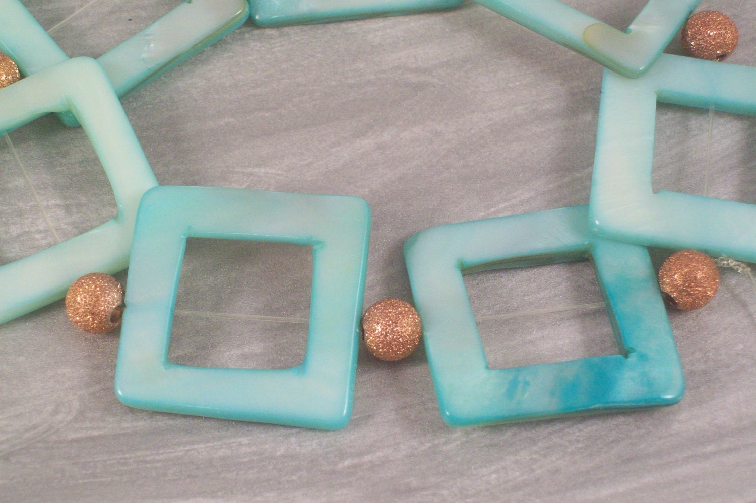 Pastel Blue Pearlescent Squares and Rose Gold Stardust Stretch Bracelet Small by LizsWares