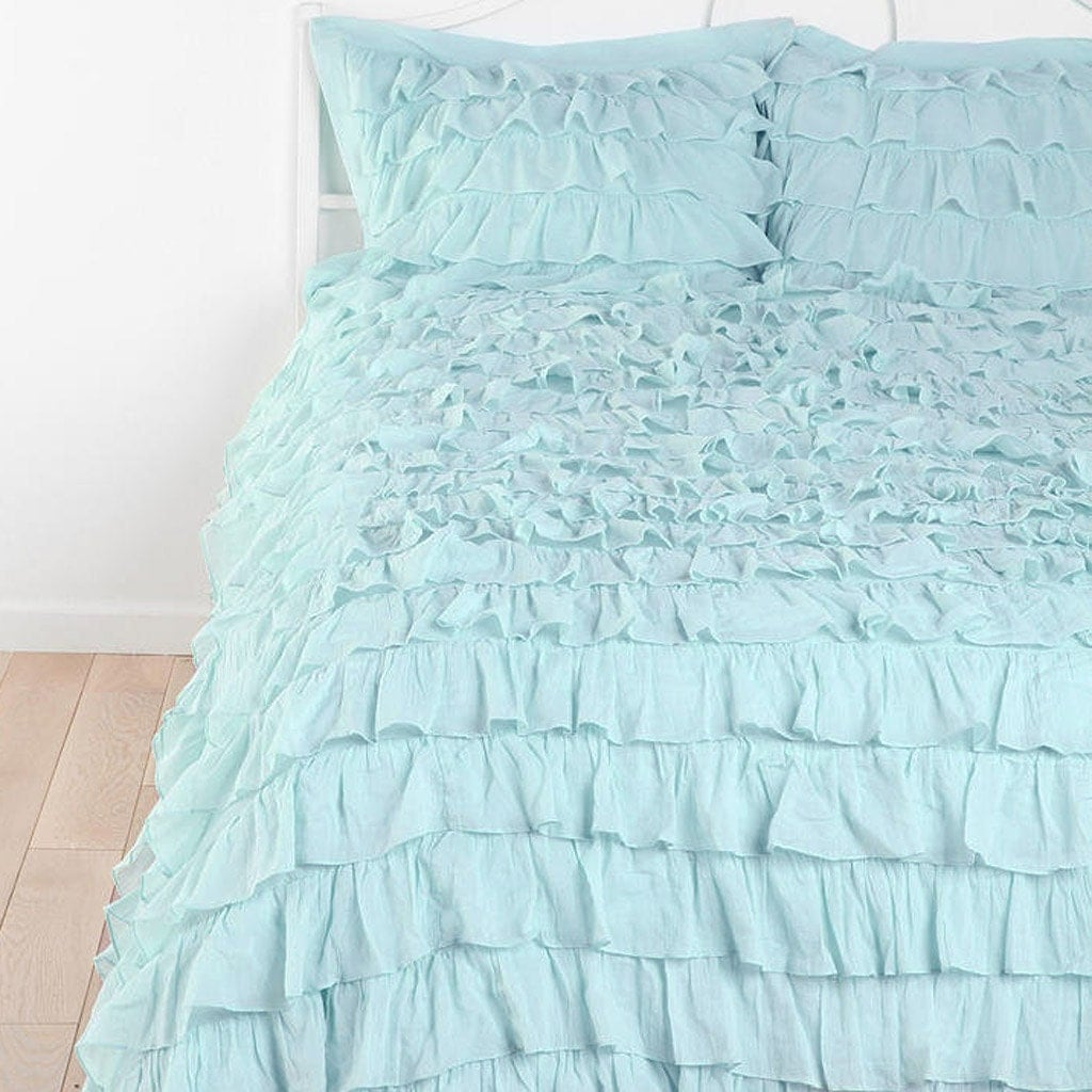 light blue waterfall ruffle bedding by lovelydecor on etsy. Black Bedroom Furniture Sets. Home Design Ideas
